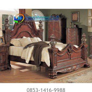 Jual Tempat Tidur Set Kayu Jati Klasik Natural Mebel Jepara IJF-0189