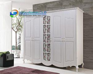 Lemari Pakaian 5 Pintu Minimalis Klasik Putih Terbaru Mobilya IJF-0111
