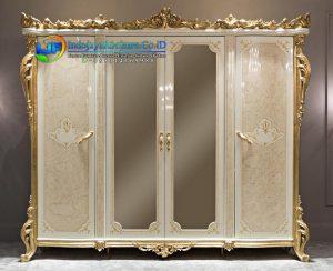 Lemari Pakaian 4 Pintu Mewah Classic Larissa Kaca Cermin Terbaru IJF-0112