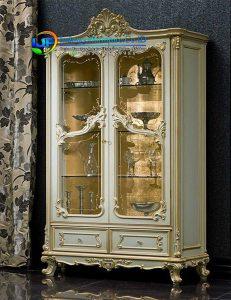 Lemari hias pintu kaca klasik italian